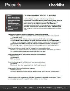 Checklist: Crisis Communication Planning