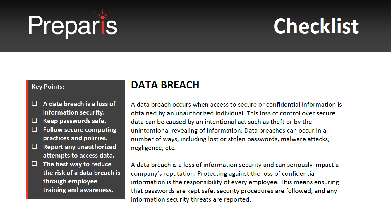 Checklist: Data Breach
